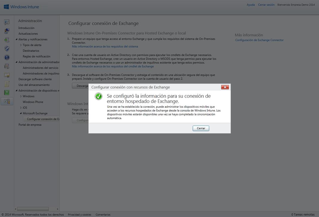 Ilustración 37 – Configuración de Microsoft Exchange en su versión Online para que cuentas de correo electrónico agregadas a dispositivos sean detectados por Windows Intune.