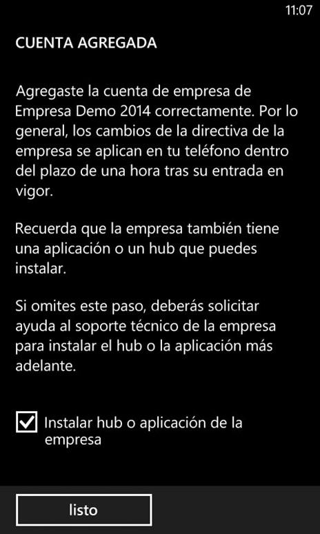 Ilustración 12 – Agregado de cuenta de Windows Intune para Administración Directa en un Windows Phone.