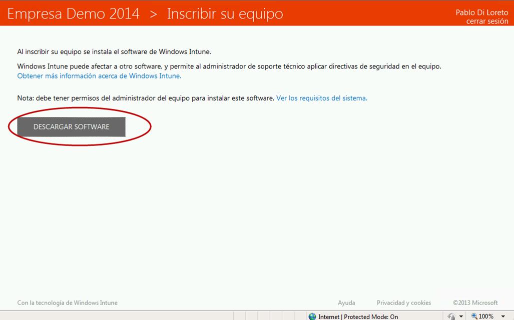 Ilustración 25 – Agregado de cuenta de Windows Intune en un equipo con Windows 8 o versión inferior (en este caso Windows 7).
