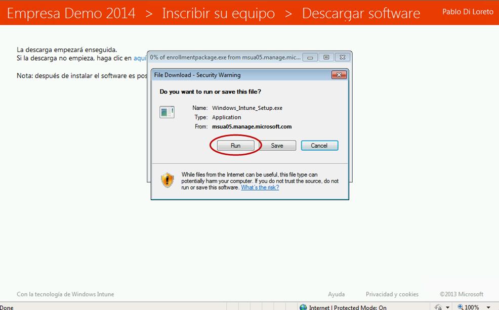 Ilustración 26 – Agregado de cuenta de Windows Intune en un equipo con Windows 8 o versión inferior (en este caso Windows 7). Instalación de Software de Windows Intune.
