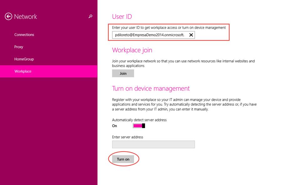 Ilustración 6 – Agregado de cuenta de Windows Intune para administración de Windows 8.1, utilizando funcionalidades de Workplace Join.