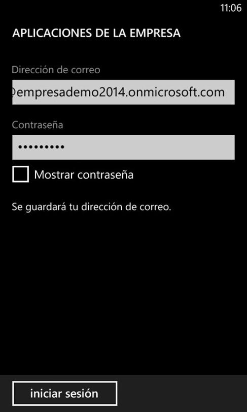 Ilustración 9 – Agregado de cuenta de Windows Intune para Administración Directa en un Windows Phone.