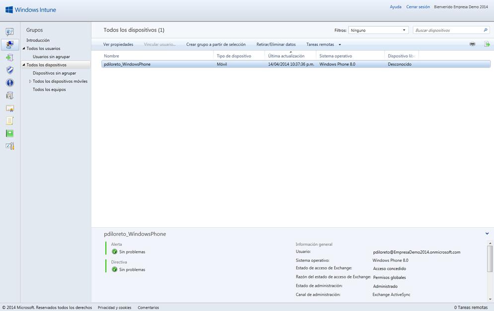 Ilustración 1 – Visualización de Dispositivos administrados por Windows Intune desde la Consola de Administración.