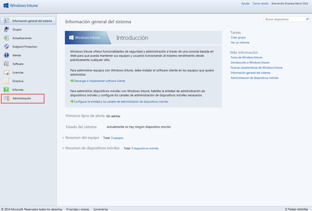 Ilustración 1 – Configuración de Servicio de Actualizaciones para equipos Windows Desktop en Windows Intune.