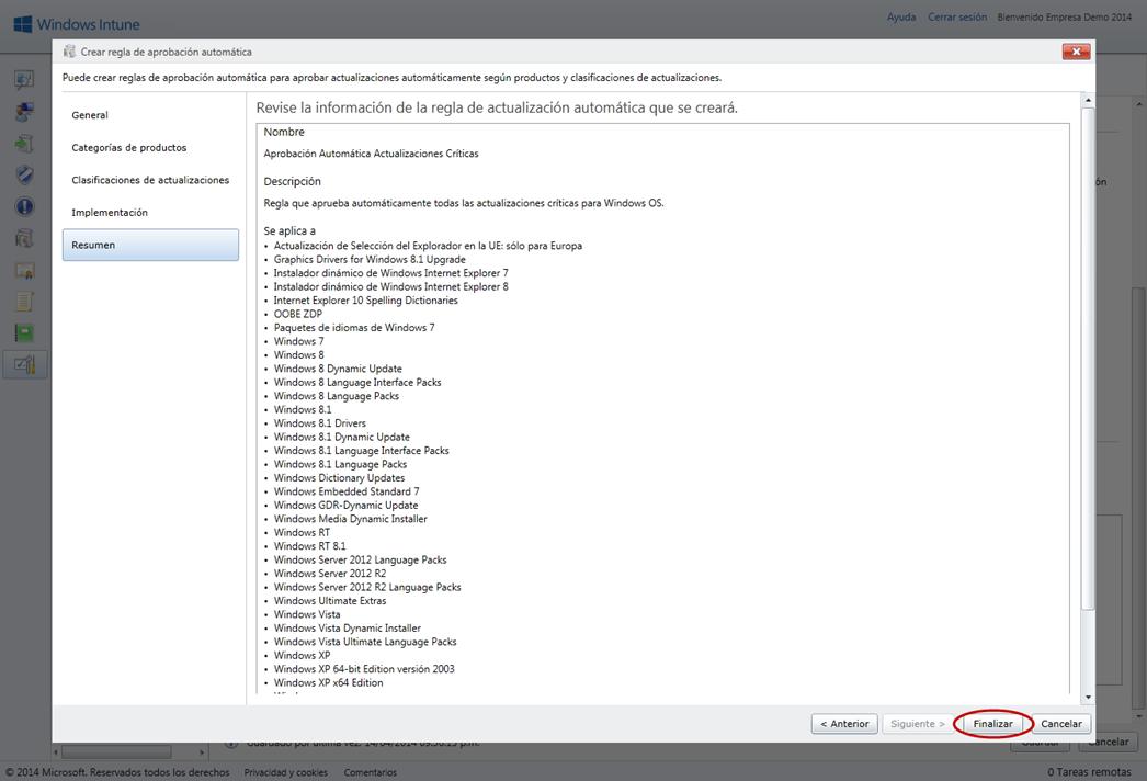 Ilustración 10 – Configuración de Servicio de Actualizaciones para equipos Windows Desktop en Windows Intune.