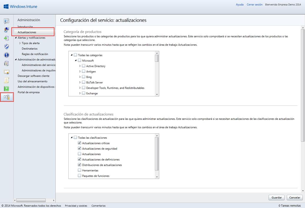 Ilustración 3 – Configuración de Servicio de Actualizaciones para equipos Windows Desktop en Windows Intune.