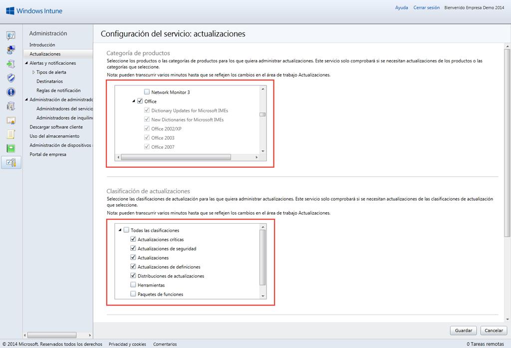 Ilustración 4 – Configuración de Servicio de Actualizaciones para equipos Windows Desktop en Windows Intune.