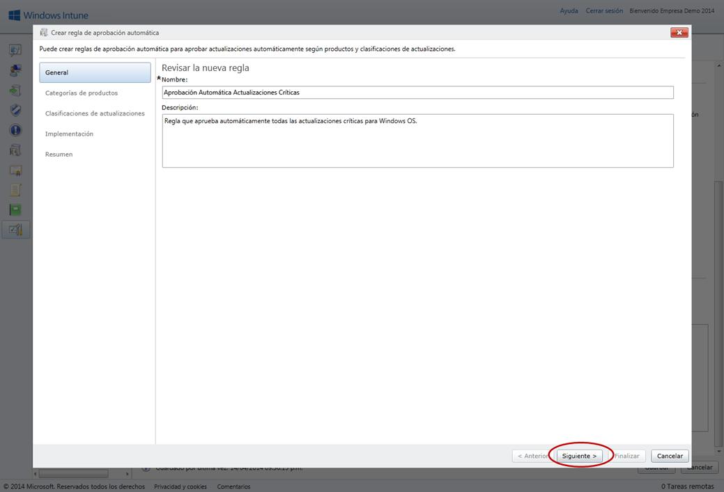 Ilustración 6 – Configuración de Servicio de Actualizaciones para equipos Windows Desktop en Windows Intune.