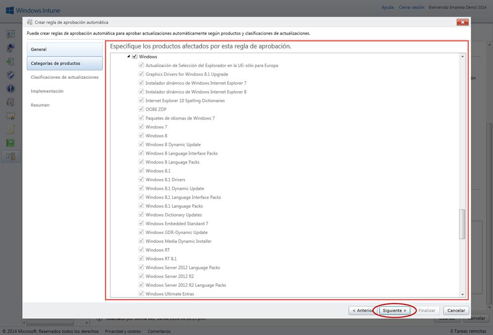 Ilustración 7 – Configuración de Servicio de Actualizaciones para equipos Windows Desktop en Windows Intune.
