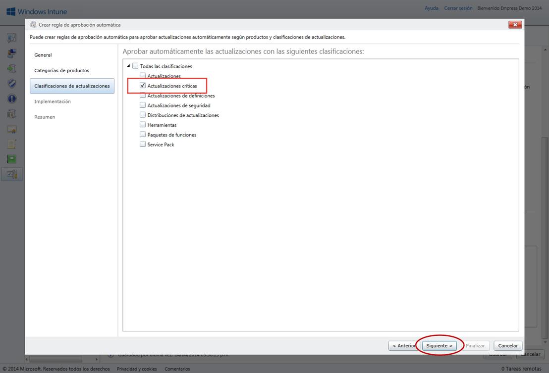 Ilustración 8 – Configuración de Servicio de Actualizaciones para equipos Windows Desktop en Windows Intune.