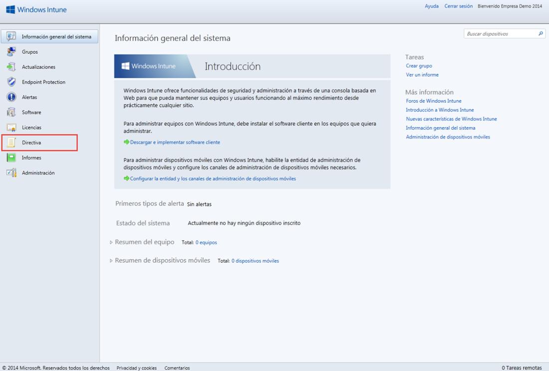 Ilustración 1 – Configuración de Directivas para Dispositivos desde Windows Intune.