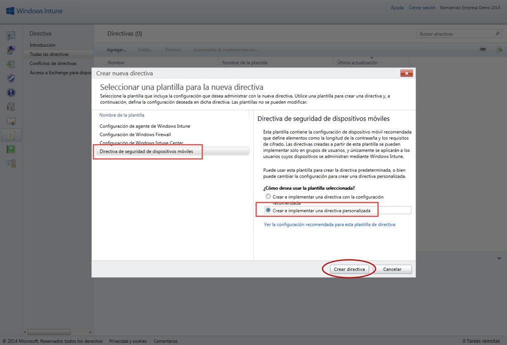 Ilustración 3 – Configuración de Directivas para Dispositivos desde Windows Intune.