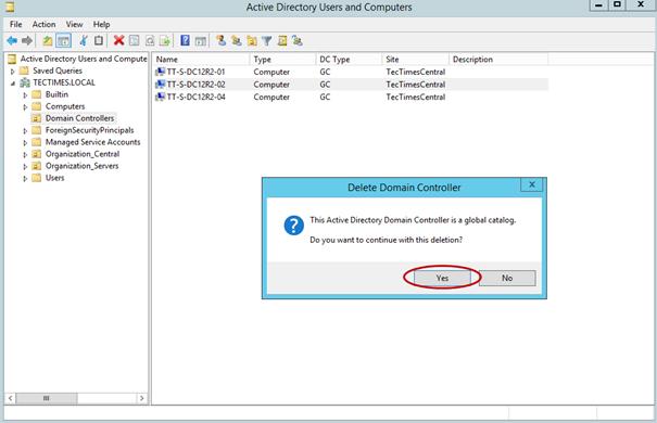 Ilustración 9 – Eliminación de Controladores de Dominio desde contenedor de Active Directory Domain Services.