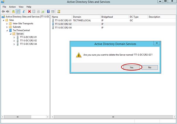 Ilustración 12 – Borrado de metadata desde Sitios y Servicios de Active Directory Domain Services.