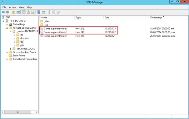 Ilustración 13 – Consola de DNS de Active Directory Domain Services para eliminar registros de controladores de dominio ya eliminados.