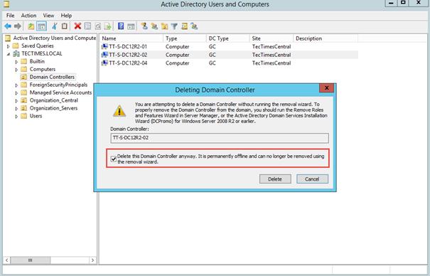 Ilustración 8 – Eliminación de Controladores de Dominio desde contenedor de Active Directory Domain Services.