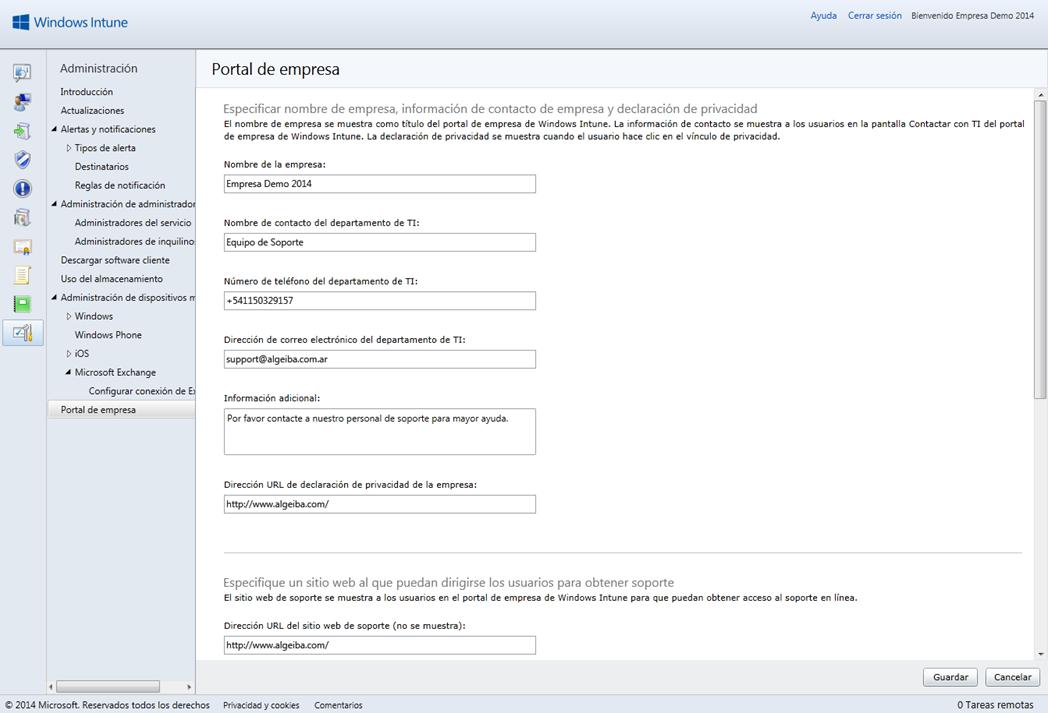 Ilustración 1 – Configuración del Portal de Empresa en Windows Intune.