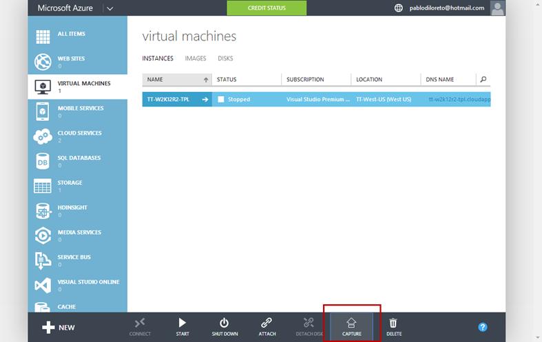 Ilustración 4 – Ejecución de proceso de captura de un sistema operativo Windows en Microsoft Azure.