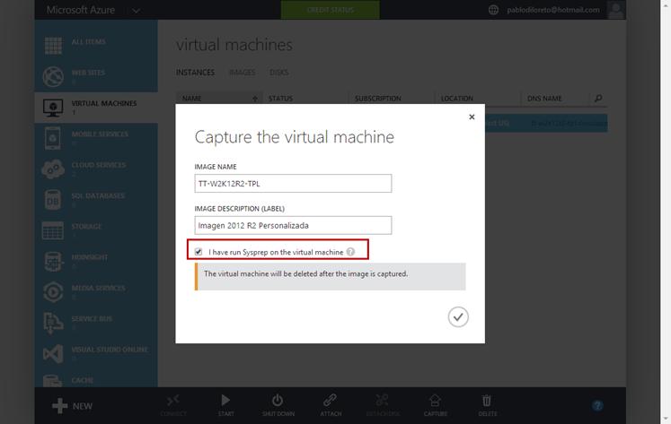 Ilustración 5 - Ejecución de proceso de captura de un sistema operativo Windows en Microsoft Azure.