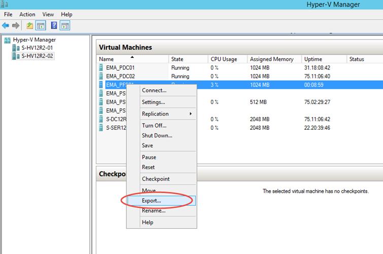 Ilustración 1 – Exportación de Equipo Virtual en Hyper-V de Windows Server 2008 R2.