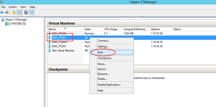 Ilustración 14 – Inicio de Equipo Virtual recientemente importado desde Hyper-V de Windows Server 2008 R2 hacia Hyper-V de Windows Server 2012.