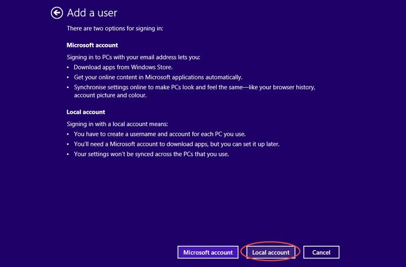 Ilustración 6 – Configuración de Acceso Asignado (Kiosk Mode) en Windows 8.1 | Creación del Usuario Local.