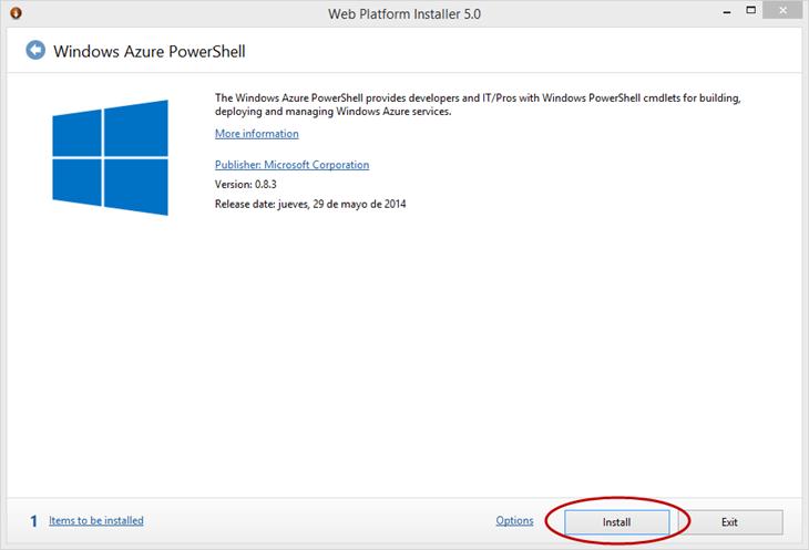 Ilustración 2 – Instalación de Microsoft Web Platform para Windows Azure PowerShell.