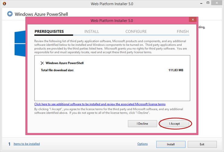 Ilustración 3 - Instalación de Microsoft Web Platform para Windows Azure PowerShell.