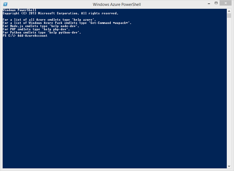 Ilustración 6 – Windows Azure PowerShell. Ventana inicial.