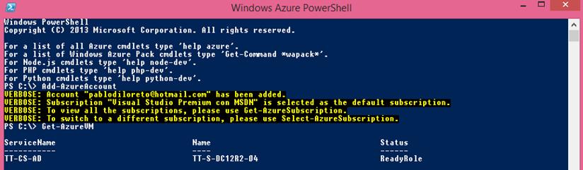 Ilustración 8 – Windows Azure PowerShell: trabajando con CMDLets.