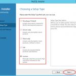 Ilustración 2 – Instalación de MySQL Server 5 en Windows Server | Elección de tipo de instalación.