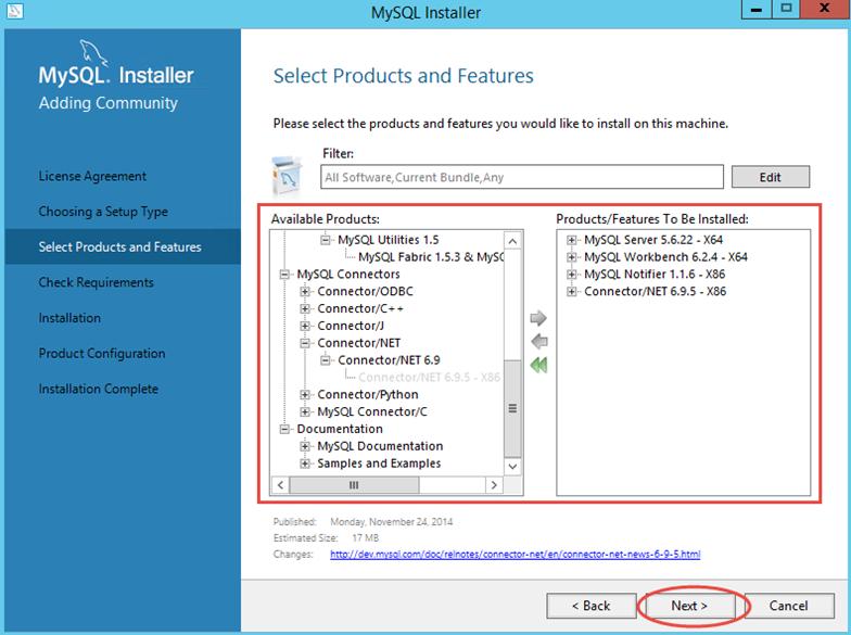 Ilustración 3 – Instalación de MySQL Server 5 en Windows Server | Selección de características de la instalación.