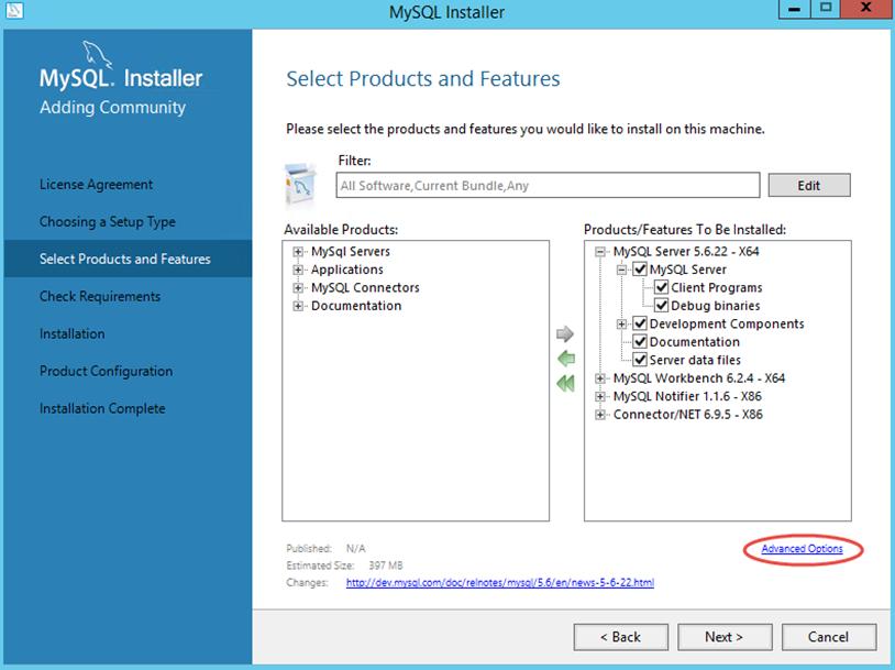 Ilustración 4 – Instalación de MySQL Server 5 en Windows Server | Personalización de la ubicación de archivos para MySQL Server.