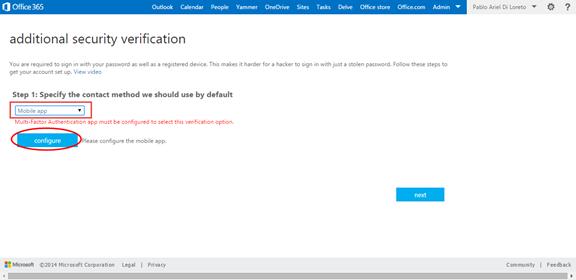Ilustración 10 – Configuración de Autenticación Multifactor en Office 365 | Configuración del Usuario.