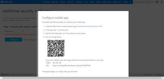 Ilustración 12 – Configuración de Autenticación Multifactor en Office 365 | Configuración del Dispositovo con el código QR.