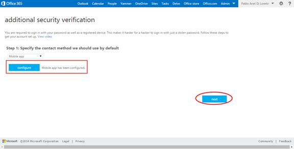 Ilustración 15 – Configuración de Autenticación Multifactor en Office 365 | Configuración de la App en Android.