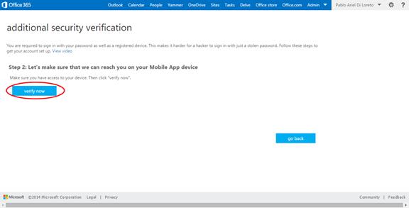 Ilustración 16 – Configuración de Autenticación Multifactor en Office 365 | Verificación de la App.