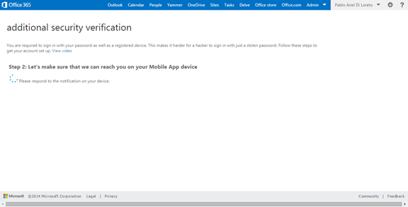Ilustración 17 – Configuración de Autenticación Multifactor en Office 365 | Verificación de la App.