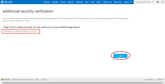 Ilustración 19 – Configuración de Autenticación Multifactor en Office 365 | Verificación de la App.