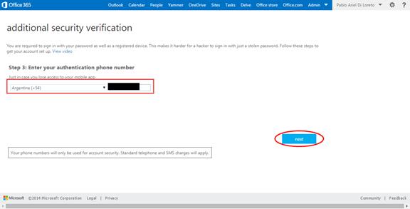 Ilustración 20 – Configuración de Autenticación Multifactor en Office 365 | Configuración de Teléfono Celular.