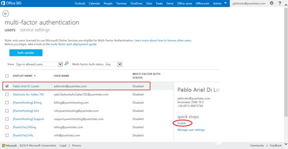 Ilustración 3 – Habilitación de Autenticación Multifactor en Office 365 | Habilitación para un Usuario.