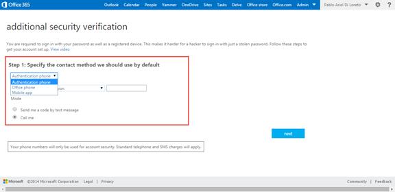 Ilustración 9 – Configuración de Autenticación Multifactor en Office 365 | Configuración del Usuario.