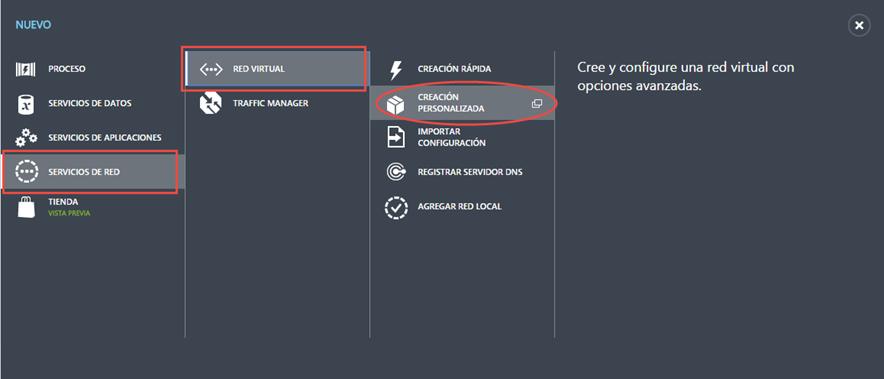 Ilustración 1 – Creación de una red virtual en Microsoft Azure.