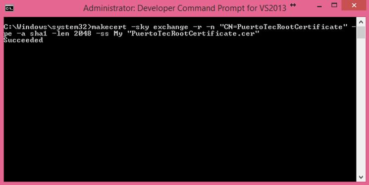Ilustración 10 – Generación de Certificado Autofirmado con las herramientas de Visual Studio 2013.