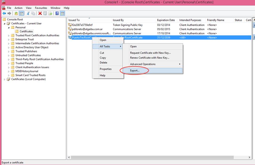 Ilustración 11 – Exportación del Certificado Autofirmado generado con las herramientas de Visual Studio 2013.