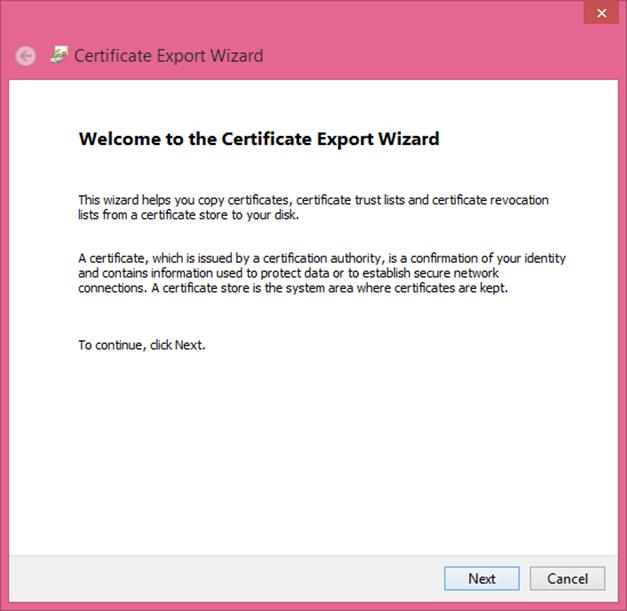 Ilustración 12 – Asistente de Exportación del Certificado Autofirmado generado con las herramientas de Visual Studio 2013.
