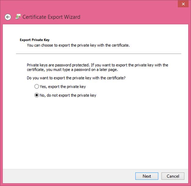 Ilustración 13 – Asistente de Exportación del Certificado Autofirmado generado con las herramientas de Visual Studio 2013.