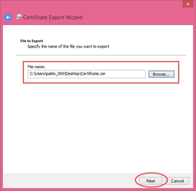 Ilustración 15 – Asistente de Exportación del Certificado Autofirmado generado con las herramientas de Visual Studio 2013.