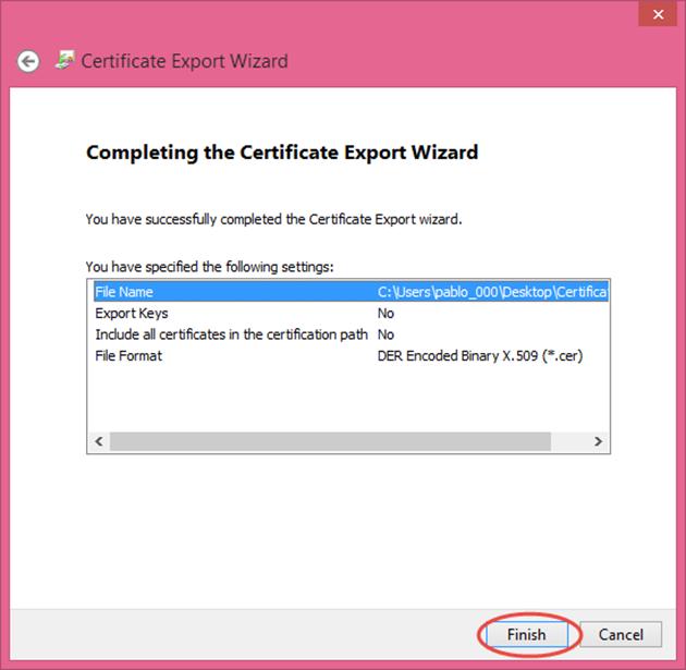Ilustración 16 – Asistente de Exportación del Certificado Autofirmado generado con las herramientas de Visual Studio 2013.