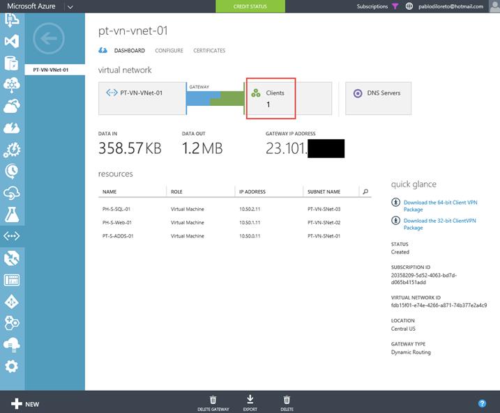 Ilustración 22 – Cliente VPN de Microsoft Azure para conexiones Point-To-Site: conexión desde Microsoft Windows.